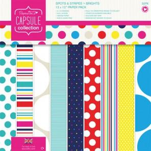 Spots & Stripes Brights Набор бумаги 30x30 для скрапбукинга, кардмейкинга Docrafts