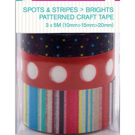 Spots & Stripes Brights Набор бумажных лент для скрапбукинга, кардмейкинга Docrafts