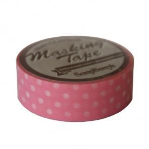 Розовая ленточка в горошек Бумажный декоративный скотч  Scrapberry's