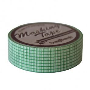 Мелкая зеленая клетка Бумажный декоративный скотч  Scrapberry's