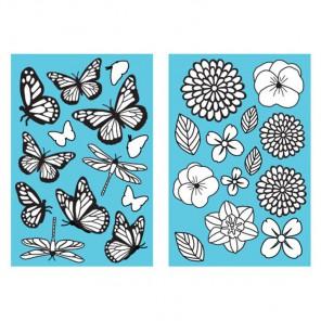 Бабочки и цветы Черные контуры 33260 Марта Стюарт Martha Stewart
