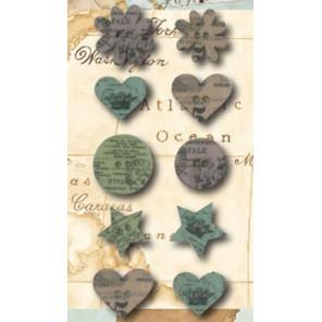 Цветы звездочки сердечки Пуговицы деревянные Stamperia