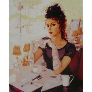 Дама в кафе Раскраска по номерам акриловыми красками на холсте Worad Art