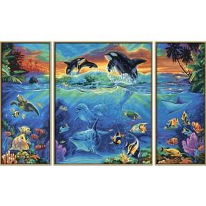 Коралловые рифы Триптих Раскраска по номерам акриловыми красками Schipper (Германия)