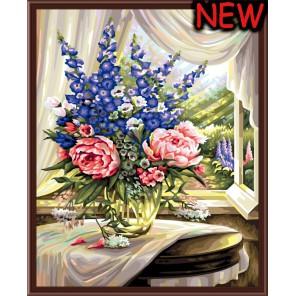 Букет с пионами Раскраска по номерам акриловыми красками на холсте Color Kit Картина по цифрам