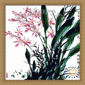 Орхидеи Китайской тушью Раскраска по номерам акриловыми красками на холсте Hobbart