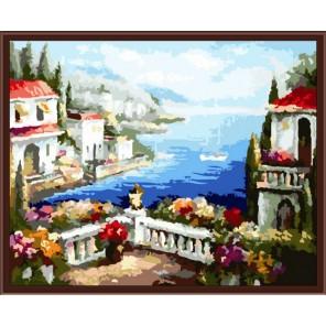 Средиземноморский вид Раскраска по номерам акриловыми красками на холсте Color Kit Картина по цифрам