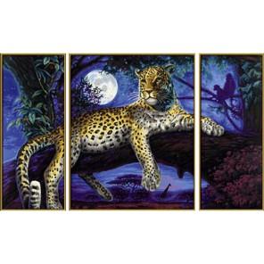 Ягуар в ночи Триптих Раскраска по номерам акриловыми красками Schipper (Германия) Картина по цифрам