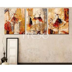 Изящные балерины Триптих Раскраска по номерам акриловыми красками на холсте  Iteso