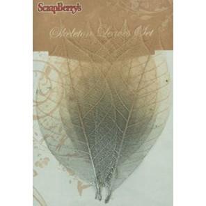 2-х цветные серебряные листочки скелетированные из каучукового дерева Украшение для скрапбукинга, кардмейкинга Scrapberry's