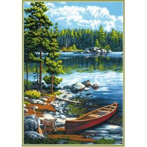 Каное около озера Раскраска картина по номерам акриловыми красками Dimensions