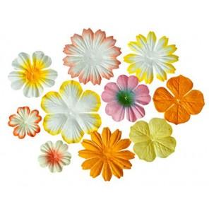 Светло-желтые и кремовые Цветы из шелковичной бумаги для скрапбукинга, кардмейкинга Scrapberry's