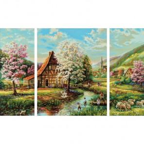 Страна Идиллия Триптих Раскраска по номерам акриловыми красками Schipper (Германия)