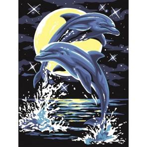 Лунные дельфины Раскраска картина по номерам акриловыми красками на холсте Color Kit