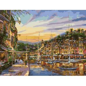Золотистая пристань 50х65см Раскраска картина по номерам акриловыми красками на холсте Menglei