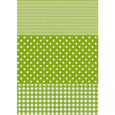 Полоска-горох-клетка салатовый 548 Бумага для декопатча Decopatch