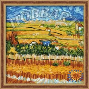 Пейзаж с голубой повозкой ( Репродукция Ван Гог) Раскраска по номерам акриловыми красками на холсте Hobbart