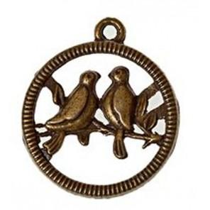 Птички на жордочке 20х24мм Подвеска металлическая для скрапбукинга, кардмейкинга Scrapberry's