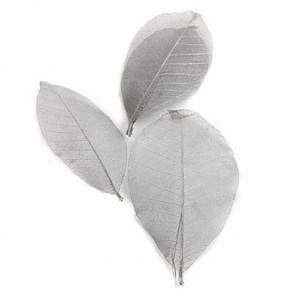 Серебряный металлик 8см Листочки 10шт скелетированные из каучукового дерева Украшение для скрапбукин