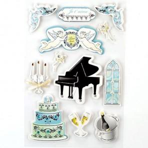 Любовь и музыка 3D Стикеры  для скрапбукинга, кардмейкинга Рукоделие