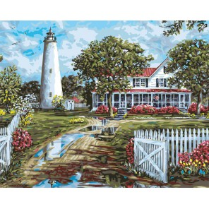 Маяк на острове Окракок Раскраска картина по номерам акриловыми красками Plaid