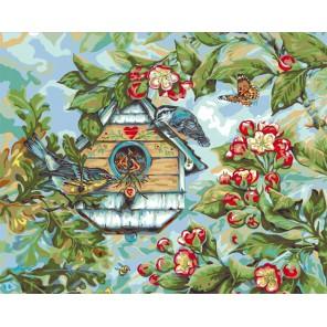 Певчие птицы весной ( художник Донна Рейс) Раскраска картина по номерам акриловыми красками Plaid