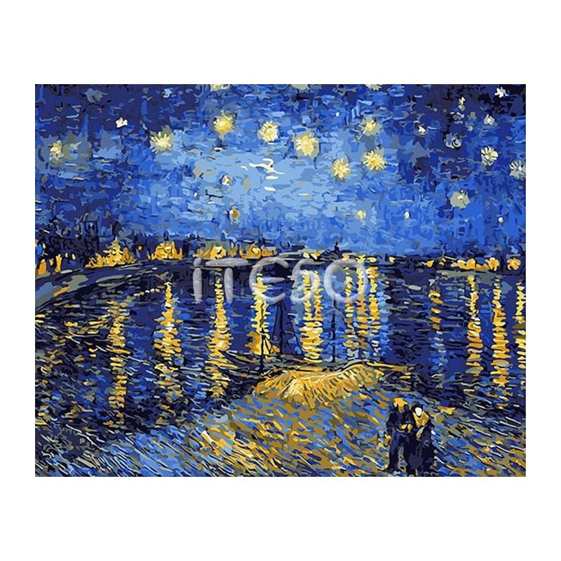 Звездная ночь над Роной (репродукция Ван Гога) Раскраска ... Звездная Ночь над Роной Ван Гог