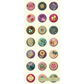 Цветы и бабочки, значки Стикеры для скрапбукинга, кардмейкинга K&Company