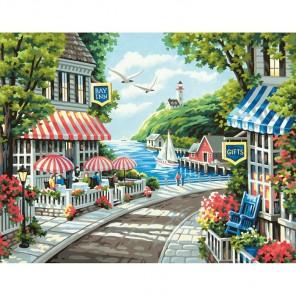 Кафе у моря Раскраска (картина) по номерам акриловыми красками Dimensions