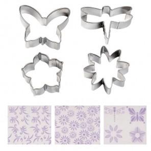 Цветы в саду Набор текстурных листов и металлических форм для вырезания Wilton ( Вилтон )