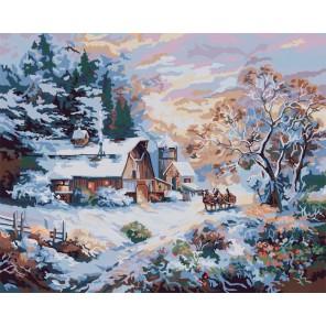 Снежный вечер Раскраска картина по номерам акриловыми красками Plaid