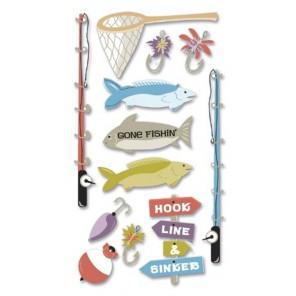 Рыбалка 3D Стикеры для скрапбукинга, кардмейкинга Ek Success