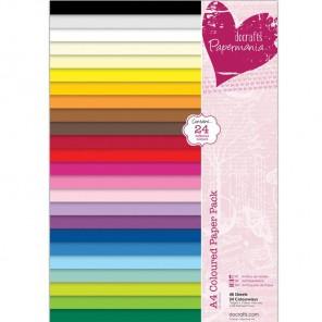 24 цвета Набор бумаги A4 для скрапбукинга, кардмейкинга Docrafts