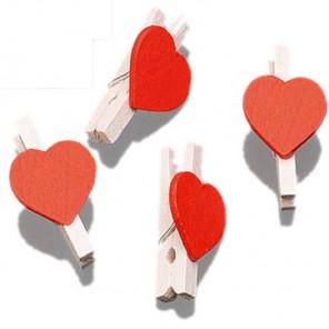 Красные сердечки Прищепки декоративные деревянные