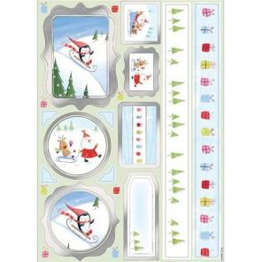 Санта Клаус и друзья Набор высеченных элементов на клейкой основе Docrafts