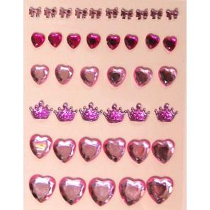 Сердечки и короны розовые Украшения клеевые для скрапбукинга, кардмейкинга Рукоделие