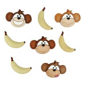 Обезьянки и бананы Пуговицы декоративные Jesse James & Co