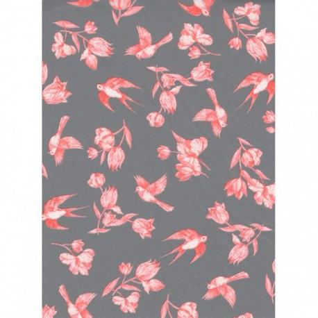 Розовые цветы и птицы на сером Бумага для декопатча Decopatch