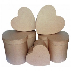 Коробки сердце Набор заготовок из папье-маше объемных Decopatch