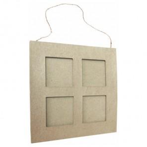 Фоторамка на 4 квадратных фото Заготовка из папье-маше объемная Decopatch