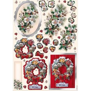 Рождественский орнамент Набор высеченных элементов для 3D декупажа Docrafts