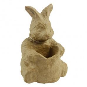 Кролик с ведром Фигурка мини из папье-маше объемная Decopatch
