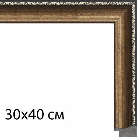 30х40 см Цветное золото с декоративной полоской Рамка для картины на холсте