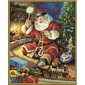 Санта Клаус с железной дорогой Раскраска по номерам Schipper (Германия)