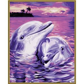 Дельфины Раскраска картина по номерам акриловыми красками Schipper (Германия)