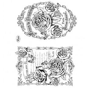 Розы и этикетки Набор прозрачных штампов для скрапбукинга, кардмейкинга Viva Decor