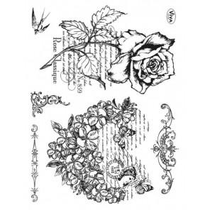 Роза и птички Набор прозрачных штампов для скрапбукинга, кардмейкинга Viva Decor