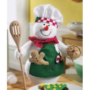 Снеговик-повар из войлока Набор для вышивания, свободный стиль Bucilla