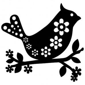 Птица с цветочками Трафарет-силуэт Marabu ( Марабу )