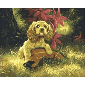 Озорной спаниель Раскраска (картина) по номерам акриловыми красками на холсте Iteso